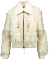 Just Cavalli Paneled shearling, calf hair and leather coat