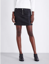 Calvin Klein High-rise leather and suede mini skirt