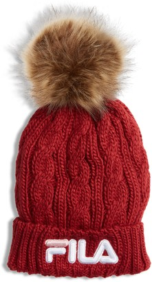 Fila The Heritage Collection Faux Fur Pom Cable Knit Beanie