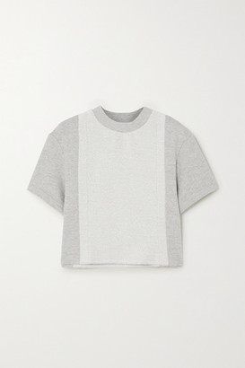 Twenty Montreal Sunnyside Cropped Paneled Melange Cotton-blend Terry T-shirt - Gray