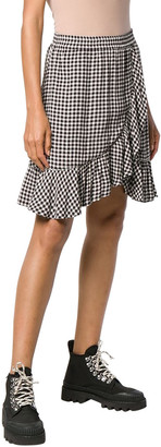 Ganni Gingham Print Wrap Mini Skirt