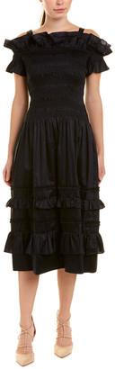 Rebecca Taylor Off-The-Shoulder A-Line Dress