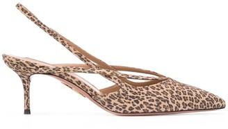 Aquazzura leopard slingback pumps