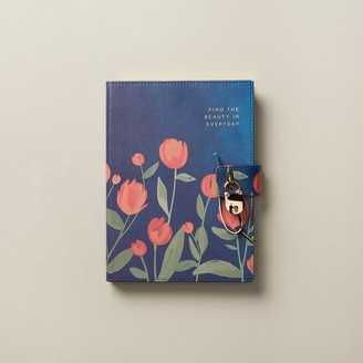 Indigo Paper Large Locked Diary Coral Floral