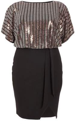 Quiz Curve Rose Gold and Black Sequin Batwing Midi Dress