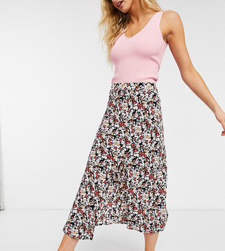 Fashion Union midi pleated skirt with thigh split in wild floral print