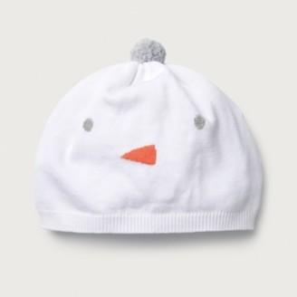 The White Company Snowman Hat, White, 0-6mths