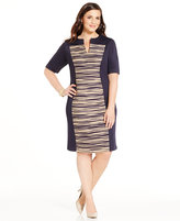 Connected Plus Size Textured-Panel Shift Dress