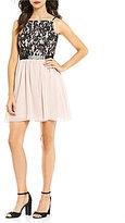 Jodi Kristopher Glitter Lace and Chiffon Jeweled A-line Dress