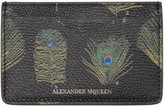 Alexander McQueen Black and Multicolor Peacock Feather Card Holder