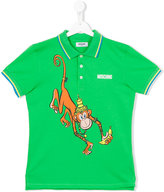 Moschino Kids - monkey print polo shirt - kids - Cotton - 14 yrs