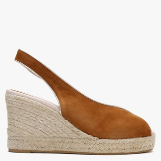 Carmen Saiz Tan Suede Peep Toe Wedge Espadrille Sandals