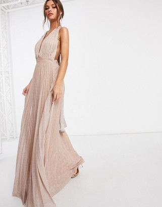 Goddiva backless plunge pleated maxi dress with drape back tie in glitter rose gold