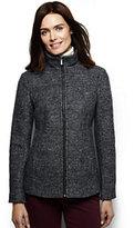 Lands' End Women's Melange Boiled Wool Jacket-Berry Red