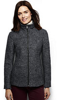 Lands' End Women's Petite Melange Boiled Wool Jacket-Jet Black Melange