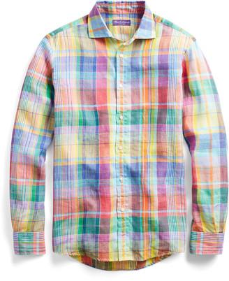Ralph Lauren Plaid Linen Chambray Shirt