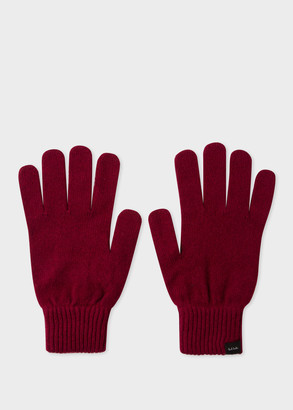 Men's Burgundy Cashmere-Blend Gloves