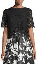 Romeo & Juliet Couture Lace Fringe-Hem Crop Top, Black