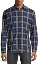 Jared Lang Men's Checkered Cotton Button-Down Shirt
