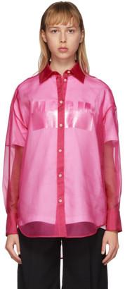 MSGM Pink Silk Sheer Shirt