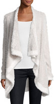 Three Dots Fuzzy-Knit Open-Front Sweater, Mink/Gardenia