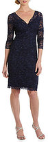 Marina V-Neck Illusion 3/4 Sleeve Beaded Lace Dress