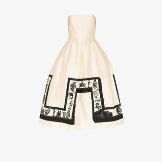 Ashley Williams Strapless Printed Silk Prom Dress