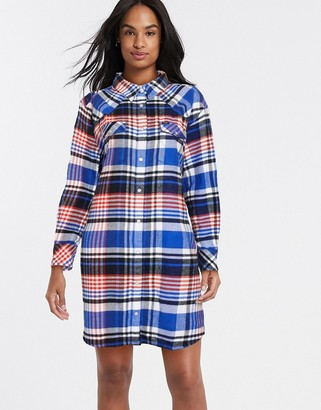 Wrangler overshirt dress in check