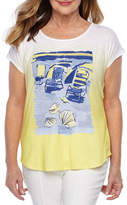 Hearts Of Palm Seas The Day-Womens Scoop Neck Short Sleeve T-Shirt