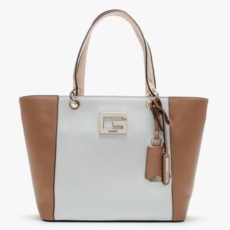 GUESS Kamryn Nude & White Shopper Bag