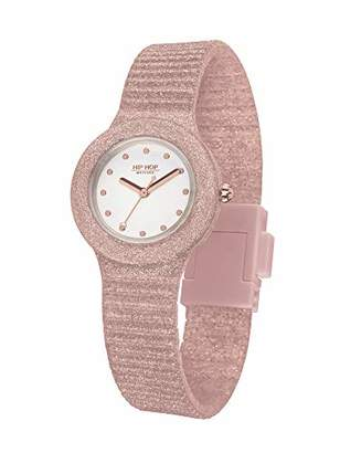 HIP HOP Ladys' Sparkling Mania Watch Collection Mono-Colour White dial 3 Hands Quartz Movement and Silicon Rose Strap HWU0969