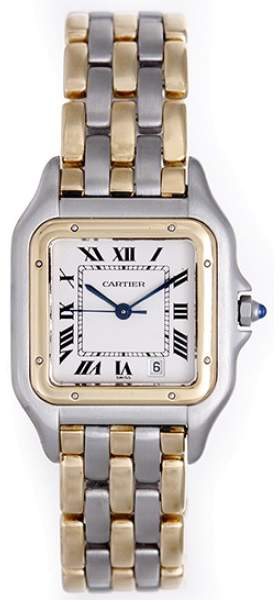 Cartier Panther Stainless Steel & 18K Yellow Gold White Dial Quartz 27mm Mens Watch