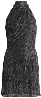 Halston Metallic Halter Mini Dress