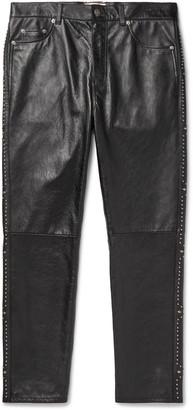 Saint Laurent Slim-Fit Studded Leather Trousers