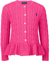Ralph Lauren 7-16 Cable Cotton Peplum Cardigan