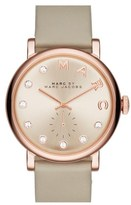Marc Jacobs 'Baker' Crystal Index Leather Strap Watch, 36mm