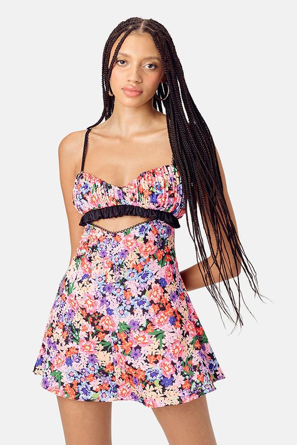 For Love & Lemons Cobalt Bouquet Cami Dress