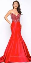 Mac Duggal Strapless Satin Beaded Mermaid Prom Dress