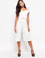 Liquorish Culotte Jumpsuit with Lace Insert