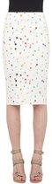 Akris Punto Boulder-Print Midi Pencil Skirt, Cream