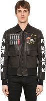 Off-White Airbrushed Leather Bomber Jacket