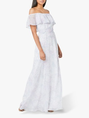 Maids To Measure Sienna Floral Print Bardot Maxi Dress, White