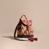 Burberry Heart Print Canvas Check Mini Backpack