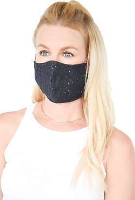 Ruby Grey Embroidered Adjustable Contoured Cotton Face Mask