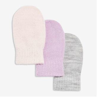 Joe Fresh Baby Girls' 3 Pack Knit Mitts, Lavender (Size O/S)