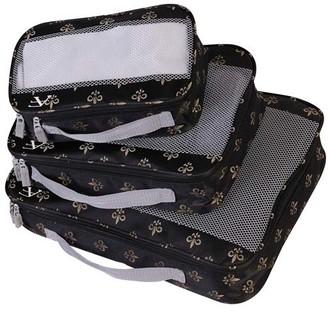 American Flyer Luggage - Black Fleur-de-Lis Perfect Three-Piece Packing Cube Set