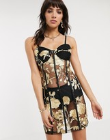 Jagger & Stone mini cami dress in metallic rose mesh