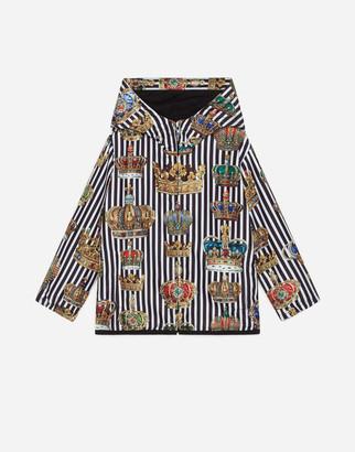 Dolce & Gabbana Hooded Nylon Windbreaker Jacket With Crown Print