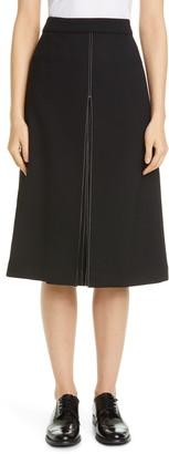 PARTOW Bay Pleat Slit Stretch Wool Skirt