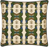 Patch NYC Peacock-Print Linen-Cotton Pillow